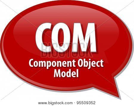 Speech bubble illustration of information technology acronym abbreviation term definition COM Component Object Model