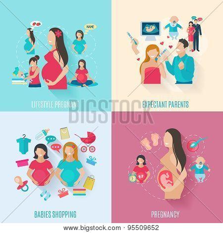 Pregnancy Flat Icons