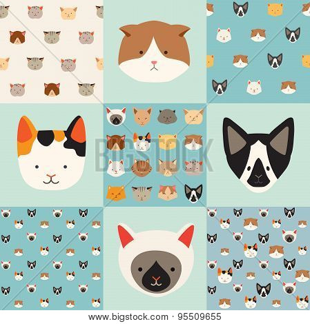 Cute cats vector pattern set