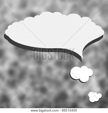 Gray abstract blurry background with speech bubble or white clouds. Blurred vector texture