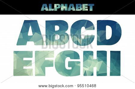 Polygon insulated colorful alphabet font style. Vector illustration in marine summer style. Part 1