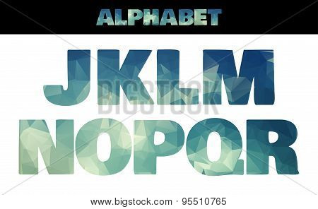 Polygon insulated colorful alphabet font style. Vector illustration in marine summer style. Part 2