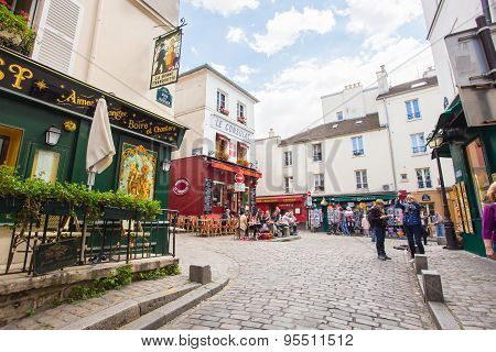 The Restaurant In Montmartre District In Paris, France