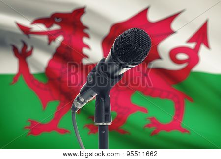 Microphone On Stand With National Flag On Background - Vietnam