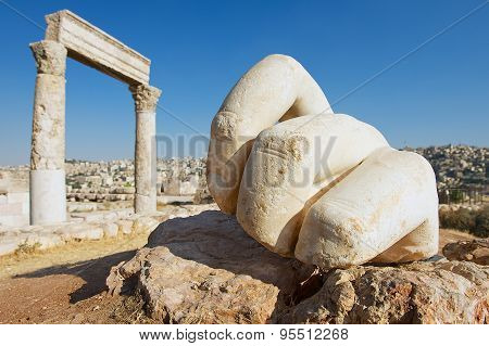 Stone Hercules hand at the antique Citadel in Amman, Jordan.