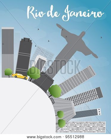 Rio de Janeiro skyline with grey buildings, blue sky and copy space. Vector illustration