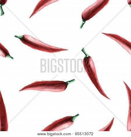Watercolor chilli pepper seamless pattern.