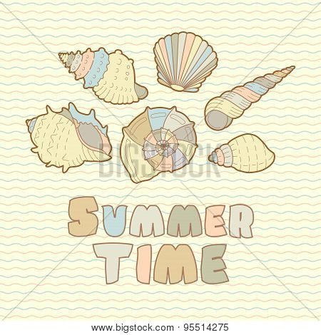 Sea shells vector icon set with text