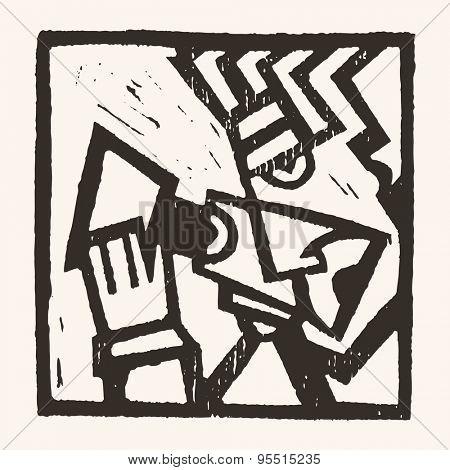 Linocut geometric character- 07