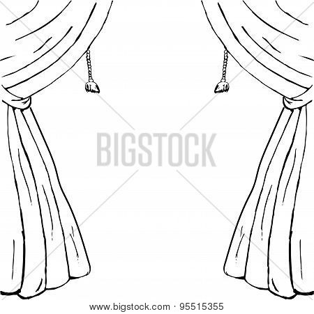 Drawn sketch of curtains as a design element