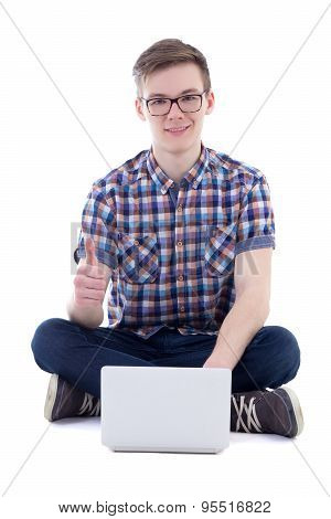 Handsome Teenage Boy Using Laptop And Thumbs Up Isolated On White