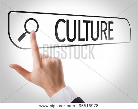 Culture written in search bar on virtual screen