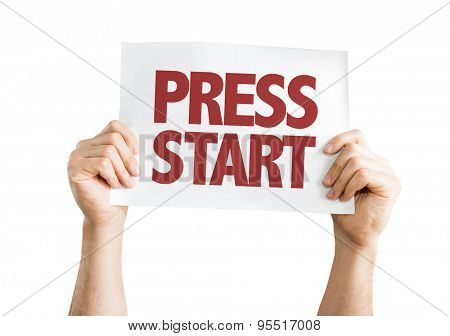 Press Start card isolated on white