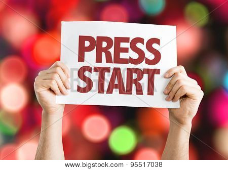 Press Start card with bokeh background