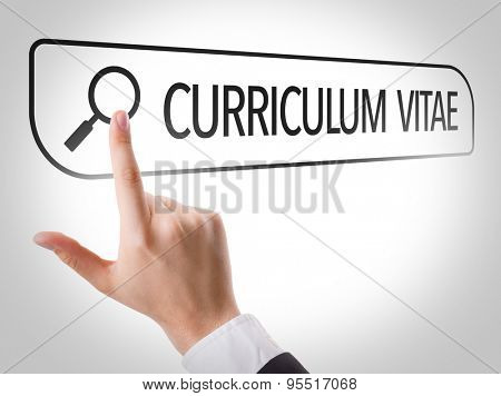 Curriculum Vitae written in search bar on virtual screen