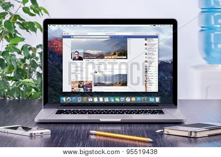 Facebook Timeline In User Profile On The Apple Macbook Pro Retina Display That Is On Office Desk