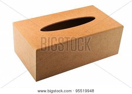 Tissues Replacement Handmade Wooden Dispenser Box Isolated On White