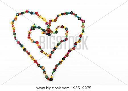 Double Heart Shaped Colorful Wooden Beads Necklace Isolated On White