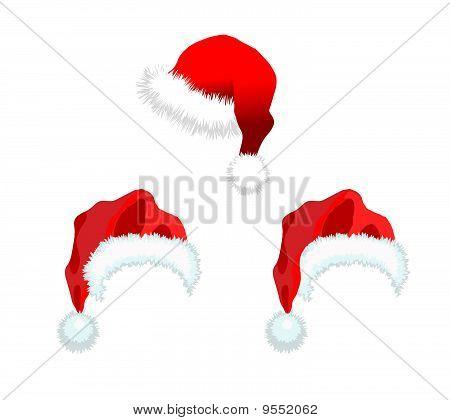 Three Red Santa Claus Hat