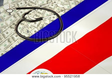 stethoscope against costa rica national flag