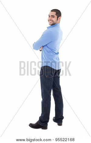 Smiling Young Arabic Business Man In Blue Shirt Isolated On White