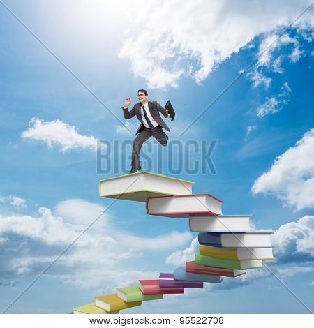 Cheerful businessman in a hurry against blue sky