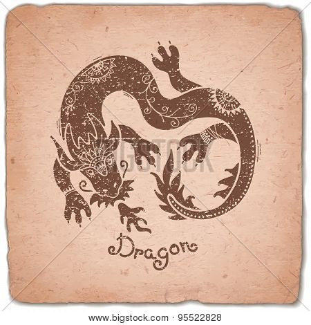 Dragon. Chinese Zodiac Sign Horoscope Vintage Card.