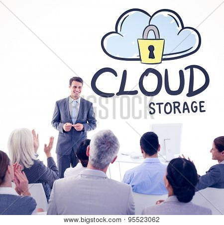 Businessman doing speech during meeting against cloud storage