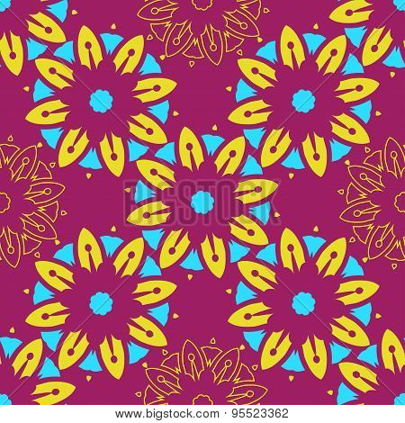 Hand Drawing Zentangle Manala Color Seamless Pattern