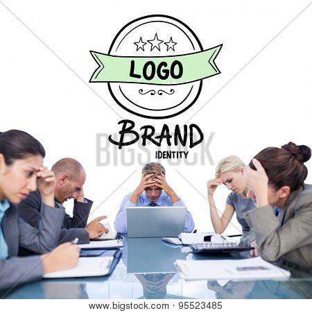 Business team smiling at camera against brand identity doodle