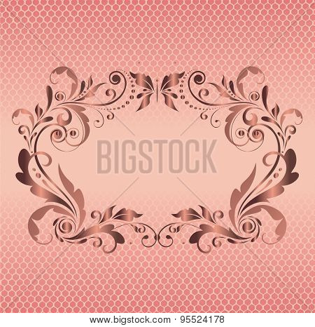 Vintage floral frame with lacy background
