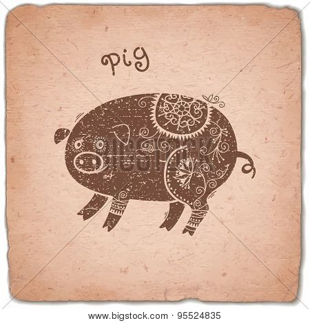 Pig. Chinese Zodiac Sign Horoscope Vintage Card.
