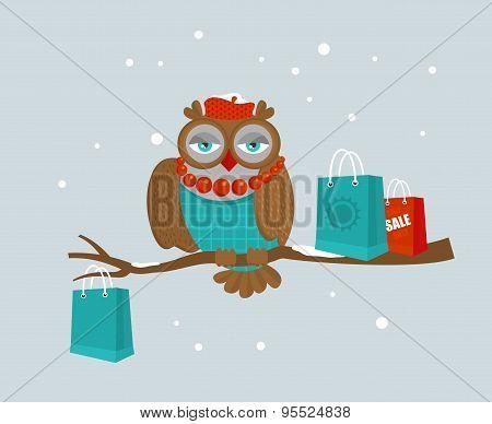 Portrait of fashionable owl on great winter sale.