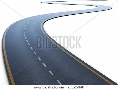 The Road With A Marking Going To A Distance