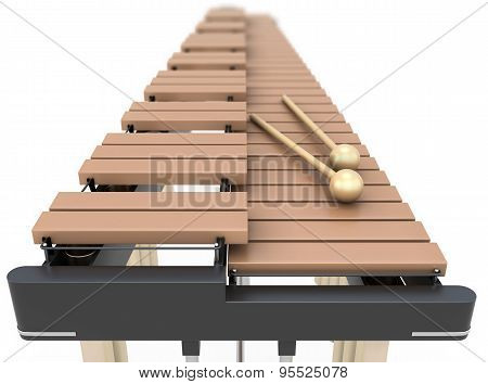 Xylophone Close-up On A White Background