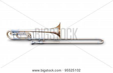 Trombone On A White