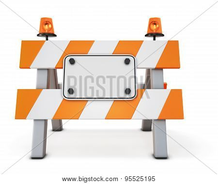Road Closed Barricade Isolated