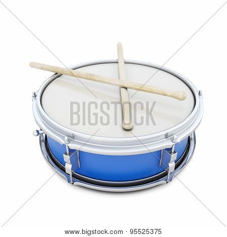 Blue Drum With Shock Sticks