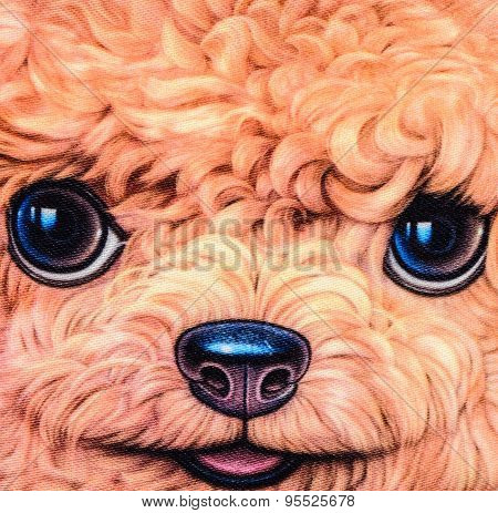 Texture Of Print Fabric Striped Poodle Dog