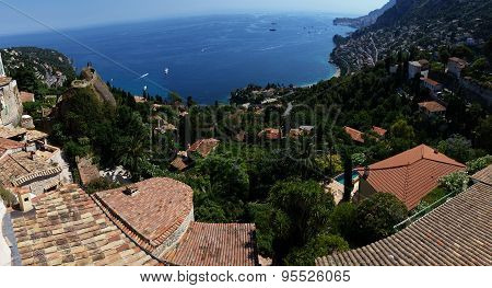 Panoramic View On Roquebrune Cap Martin, Azur Coast, France