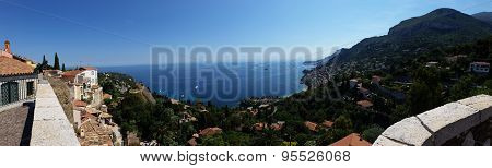 Panoramic View Of The Sea From The Village Of Roquebrune Cap Martin