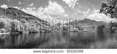 An infrared image of the Forchensee in Bavaria Germany
