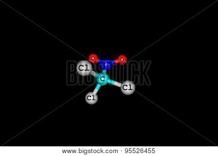 Chloropicrin molecular structure isolated on black