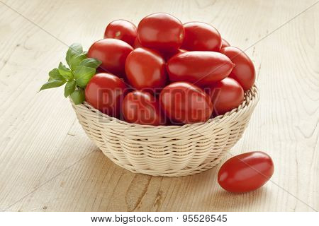Basket with fresh red tomatoes and green basil leaves