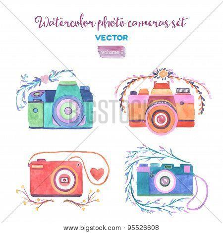 Watercolor vector photo cameras set.