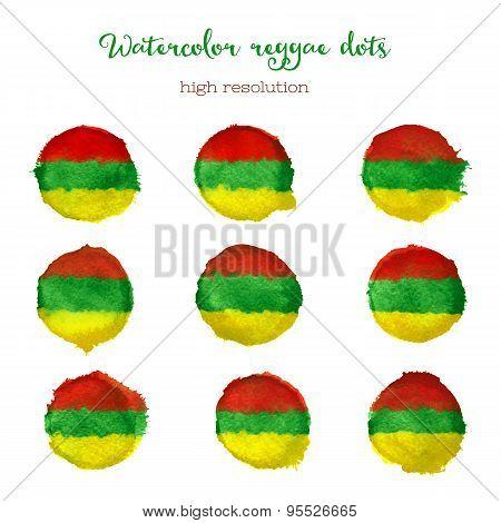 Watercolor reggae style dots.