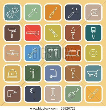 Tool Line Flat Icons On Yellow Background