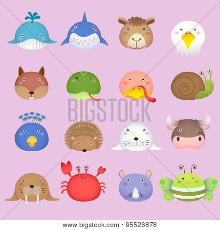 Cute Cartoon Animal Head Set 3