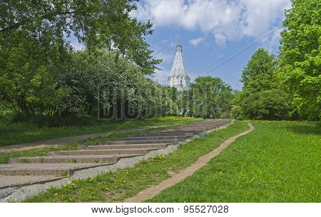 The Path To The White Stone Orthodox Church On A Hillside.