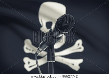 Microphone On Stand With Flag On Background - Jolly Roger